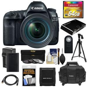 Canon EOS 5D Mark IV 4K Wi-Fi Digital SLR Camera and EF 24-70mm f-4L IS USM Lens with 64GB CF Card and Battery and Charger and Case and 3 UV-CPL-ND8 Filters and Tripod and Kit