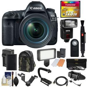 Canon EOS 5D Mark IV 4K Wi-Fi Digital SLR Camera and EF 24-70mm f-4L IS USM Lens with 128GB CF Card and Battery and Charger and Backpack and Flash and LED Light and Microphone and Kit