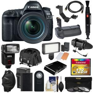 Canon EOS 5D Mark IV 4K Wi-Fi Digital SLR Camera and EF 24-70mm f-4L IS USM Lens with 128GB CF Card and Battery and Charger and Grip and Case and Flash and LED Light and Mic and Kit