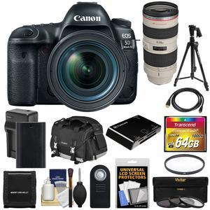 Canon EOS 5D Mark IV 4K Wi-Fi Digital SLR Camera and EF 24-70mm f-4L IS USM Lens with 70-200mm f-2.8L Lens and 64GB Card and Battery and Charger and Case and Filters and Tripod and Kit