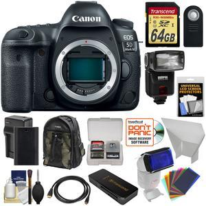 Canon EOS 5D Mark IV 4K Wi-Fi Digital SLR Camera Body with 64GB SD Card and Battery and Charger and Backpack and Flash and Reflector and Gel Filters and Kit
