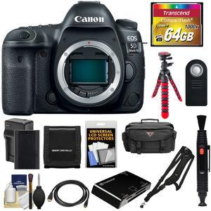 Canon EOS 5D Mark IV 4K Wi-Fi Digital SLR Camera Body with 64GB CF Card and Battery and Charger and Case and Tripod and Sling Strap and Kit