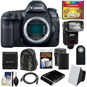 Canon EOS 5D Mark IV 4K Wi-Fi Digital SLR Camera Body with 64GB CF Card and Battery and Charger and Backpack and Flash and Soft Box and Kit