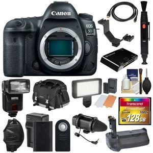 Canon EOS 5D Mark IV 4K Wi-Fi Digital SLR Camera Body with 128GB CF Card and Battery and Charger and Grip and Case and Flash and LED Light and Mic and Kit