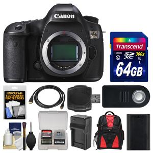 Canon EOS 5DS Digital SLR Camera Body with 64GB Card and Backpack and Battery and Charger and Remote and Kit