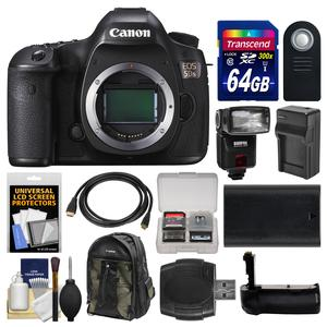 Canon EOS 5DS Digital SLR Camera Body with 64GB Card and Backpack and Flash and Battery and Charger and Grip and Remote and Kit
