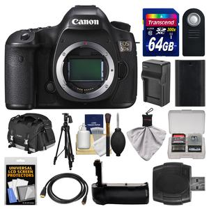 Canon EOS 5DS Digital SLR Camera Body with 64GB Card and Case and Battery and Charger and Grip and Tripod and Remote and Kit