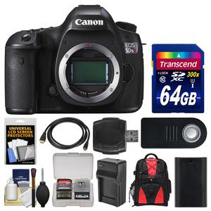 Canon EOS 5DS R Digital SLR Camera Body with 64GB Card and Backpack and Battery and Charger and Remote and Kit