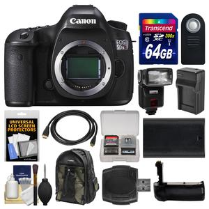 Canon EOS 5DS R Digital SLR Camera Body with 64GB Card and Backpack and Flash and Battery and Charger and Grip and Remote and Kit