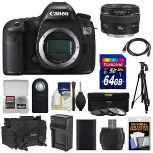 Canon EOS 5DS R Digital SLR Camera Body with 50mm f-1.4 Lens and 64GB Card and Battery and Charger and Case and Filters and Tripod and Kit