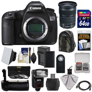 Canon EOS 5DS R Digital SLR Camera Body with 24-105mm STM Lens and 64GB Card and Battery and Charger and Backpack and Grip and Flash and Kit