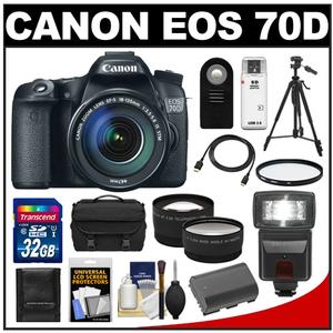 Canon EOS 70D Digital SLR Camera & EF-S 18-135mm IS STM Lens with 32GB Card + Battery + Case + Tripod + Flash + Tele/Wide Lenses + Accessory Kit