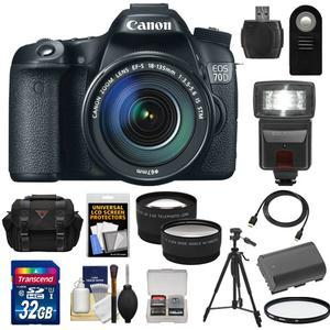 Canon EOS 70D Digital SLR Camera and EF-S 18-135mm IS STM Lens with 32GB Card and Battery and Case and Tripod and Flash and Tele-Wide Lenses and Accessory Kit