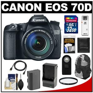 Canon EOS 70D Digital SLR Camera & EF-S 18-135mm IS STM Lens with 32GB Card + Battery & Charger + Backpack + Filter + Accessory Kit