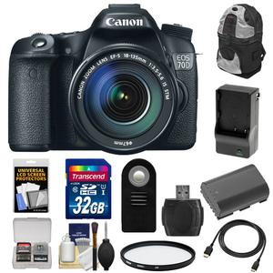 Canon EOS 70D Digital SLR Camera and EF-S 18-135mm IS STM Lens with 32GB Card and Battery and Charger and Backpack and Filter and Accessory Kit
