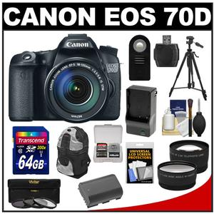 Canon EOS 70D Digital SLR Camera & EF-S 18-135mm IS STM Lens with 64GB Card + Battery & Charger + Backpack + 3 Filters + Tripod + Tele/Wide Lens Kit