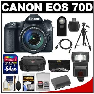 Canon EOS 70D Digital SLR Camera & EF-S 18-135mm IS STM Lens with 64GB Card + Battery + Case + 3 Filters + Flash + Tripod + Accessory Kit