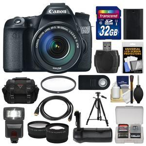 Canon EOS 70D Digital SLR Camera and EF-S 18-135mm IS STM Lens with 32GB Card and Case and Battery and Grip and Tripod and Tele-Wide Lenses Kit