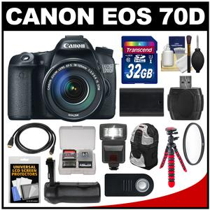 Canon EOS 70D Digital SLR Camera and EF-S 18-135mm IS STM Lens with 32GB Card and Backpack and Flash and Battery and Grip and Tripod and Kit