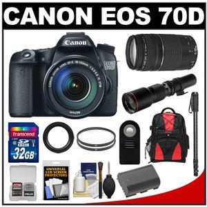 Canon EOS 70D Digital SLR Camera & EF-S 18-135mm IS STM Lens with 75-300mm III & 500mm Lenses + 32GB Card + Battery + Backpack + Monopod Kit