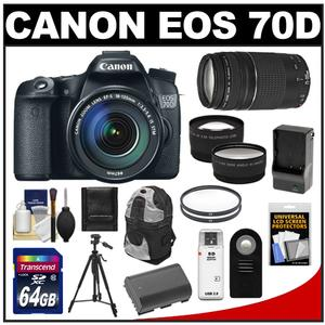 Canon EOS 70D Digital SLR Camera & EF-S 18-135mm IS STM Lens with 75-300mm III Lens + 64GB Card + Battery/Charger + Backpack + Tripod + 2 Lens Kit