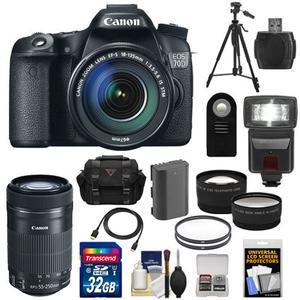 Canon EOS 70D Digital SLR Camera and EF-S 18-135mm IS STM Lens with 55-250mm IS STM Lens and 32GB Card and Battery and Case and Tripod and Flash and Tele-Wide Lens