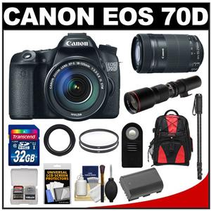 Canon EOS 70D Digital SLR Camera and EF-S 18-135mm IS STM Lens with 55-250mm IS STM and 500mm Lenses and 32GB Card and Battery and Backpack and Monopod Kit