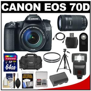 Canon EOS 70D Digital SLR Camera and EF-S 18-135mm IS STM Lens with 55-250mm IS STM Lens and 64GB Card and Battery and Case and Filters and Flash and Tripod and Kit