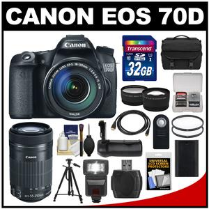 Canon EOS 70D Digital SLR Camera & EF-S 18-135mm IS STM Lens with 55-250mm IS STM Lens + 32GB Card + Case + Flash + Battery + Grip + Tripod Kit