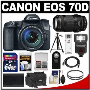 Canon EOS 70D Digital SLR Camera & EF-S 18-135mm IS STM Lens with EF 70-300mm IS Lens + 64GB Card + Battery + Case + Tripod + Flash + Kit