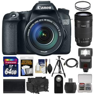 Canon EOS 70D Digital SLR Camera and EF-S 18-135mm IS STM Lens with 55-250mm IS STM Lens and 64GB Card and Battery and Case and Tripod and Flash and Accessory Kit