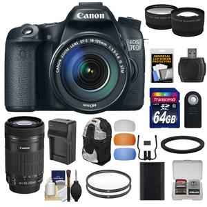 Canon EOS 70D Digital SLR Camera and EF-S 18-135mm IS STM Lens with 55-250mm IS STM Lens and 64GB Card and Battery and Charger and Backpack and Tele-Wide Lens Kit
