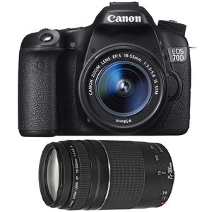 Canon EOS 70D Digital SLR Camera & EF-S 18-55mm IS STM Lens with EF 75-300mm f/4-5.6 III Zoom Lens