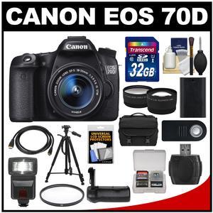 Canon EOS 70D Digital SLR Camera & EF-S 18-55mm IS STM Lens with 32GB Card + Case + Flash + Battery + Grip + Tripod + Tele/Wide Lens Kit