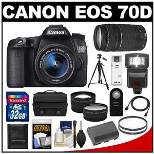 Canon EOS 70D Digital SLR Camera & EF-S 18-55mm IS STM Lens with 75-300mm Lens + 32GB Card + Battery + Case + Tripod + Flash + Tele/Wide Lens Kit
