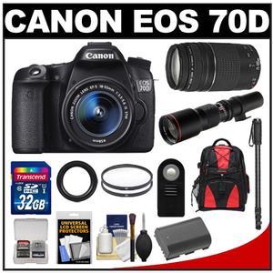 Canon EOS 70D Digital SLR Camera & EF-S 18-55mm IS STM Lens with 75-300mm & 500mm Lenses + 32GB Card + Battery + Backpack + Monopod Kit