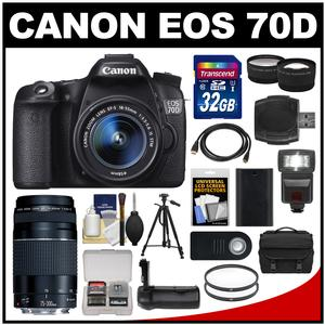 Canon EOS 70D Digital SLR Camera & EF-S 18-55mm IS STM Lens with 75-300mm III Lens + 32GB Card + Case + Flash + Battery + Grip + Tripod Kit