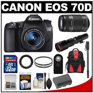 Canon EOS 70D Digital SLR Camera & EF-S 18-55mm IS STM Lens with 55-250mm IS STM & 500mm Lenses + 32GB Card + Battery + Backpack + Monopod Kit