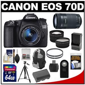 Canon EOS 70D Digital SLR Camera & EF-S 18-55mm IS STM Lens + 55-250mm IS STM Lens + 64GB Card + Battery/Charger + Backpack + Tripod + Tele/Wide Lens