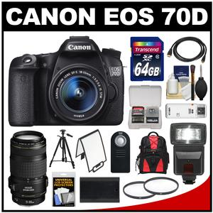 Canon EOS 70D Digital SLR Camera & EF-S 18-55mm IS STM Lens with EF 70-300mm IS Lens + 64GB Card + Backpack + Flash + Battery + Tripod + Accessory Kit