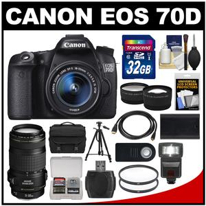 Canon EOS 70D Digital SLR Camera & EF-S 18-55mm IS STM Lens with 70-300mm IS Lens + 32GB Card + Case + Flash + Battery + Tripod + Kit