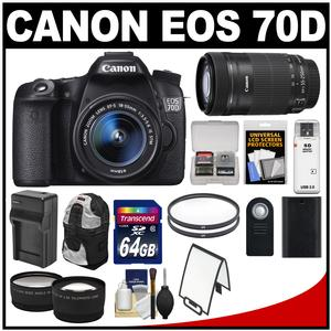 Canon EOS 70D Digital SLR Camera & EF-S 18-55mm IS STM Lens with 55-250mm IS STM Lens + 64GB Card + Battery + Charger + Backpack + Tele/Wide Lens Kit