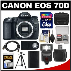 Canon EOS 70D Digital SLR Camera Body with 64GB Card + Case + Flash + Battery + Tripod + Remote + Accessory Kit