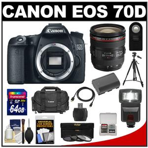 Canon EOS 70D Digital SLR Camera Body with EF 24-70mm f/4L IS Lens + 64GB Card + Battery + Case + Flash + Tripod + Accessory Kit