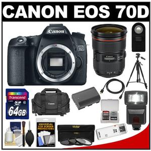 Canon EOS 70D Digital SLR Camera Body with EF 24-70mm f/2.8L Lens + 64GB Card + Battery + Case + Flash + Tripod + Accessory Kit