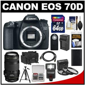 Canon EOS 70D Digital SLR Camera Body with EF 70-300mm IS Lens + 64GB Card + Case + Flash + Battery & Charger + Tripod Kit