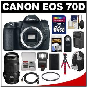 Canon EOS 70D Digital SLR Camera Body with EF 70-300mm IS Lens + 64GB Card + Backpack + Flash + Battery + Charger + Tripod Kit