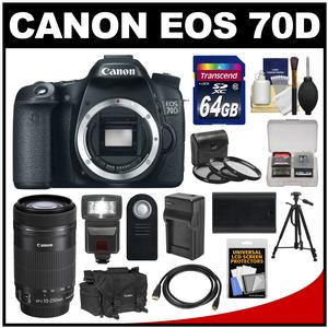 Canon EOS 70D Digital SLR Camera Body with 55-250mm IS STM Lens + 64GB Card + Case + Flash + Battery + Charger + Tripod Kit