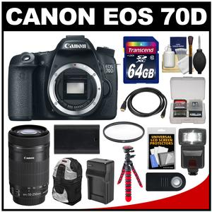 Canon EOS 70D Digital SLR Camera Body with 55-250mm IS STM Lens + 64GB Card + Backpack + Flash + Battery + Charger + Kit