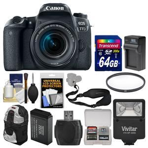 Canon EOS 77D Wi-Fi Digital SLR Camera and EF-S 18-55mm IS STM Lens with 64GB Card + Backpack + Flash + Battery and Charger + Filter + Strap + Kit